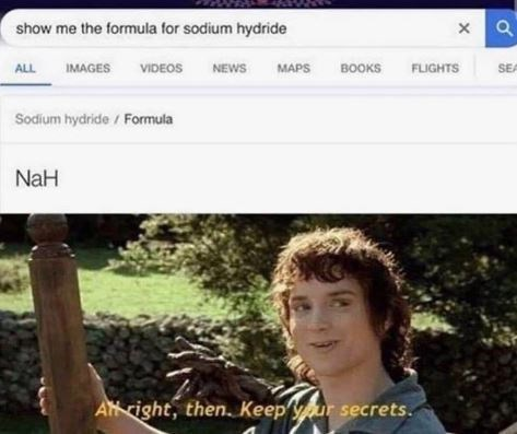 """Someone types into the Google search bar, """"Show me the formula for sodium hydride"""" above Frodo Baggins meme where he says, """"All right then, keep your secrets"""""""