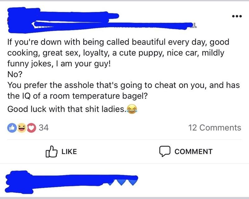nice guy meme about women liking assholes