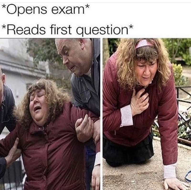 People - *Opens exam* *Reads first question*