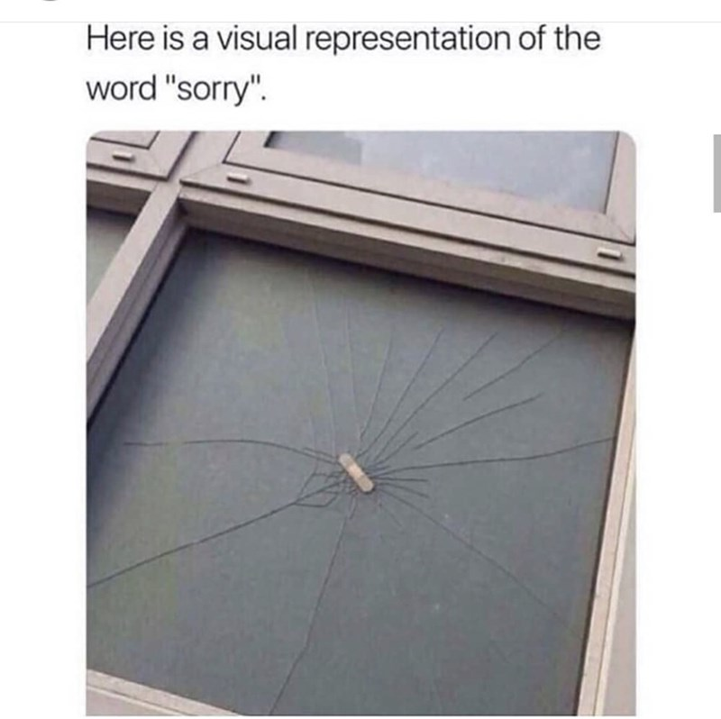 """Roof - Here is a visual representation of the word """"sorry"""""""