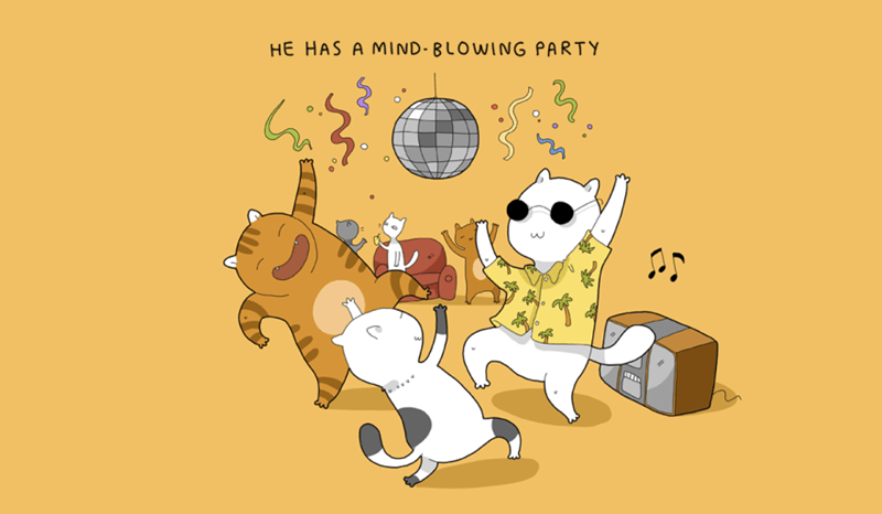 Cartoon - HE HAS A MIND- BLOWING PARTY ww