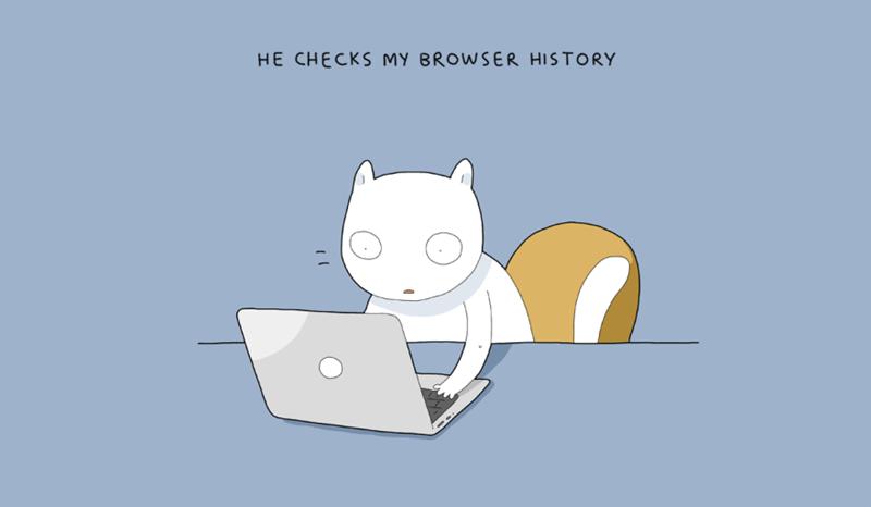 Cartoon - HE CHECKS MY BROWSER HISTORY