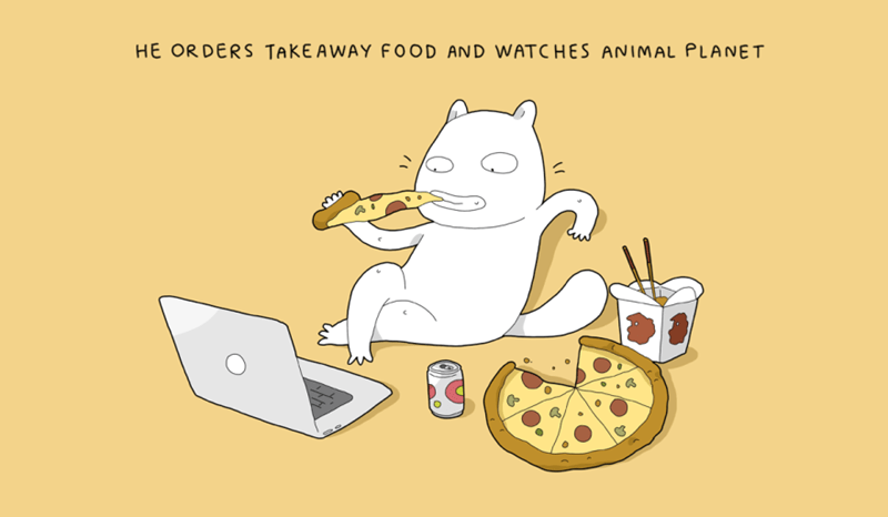 Junk food - HE ORDERS TAKEAWAY F0OD AND WATCHES ANIMAL PLANET