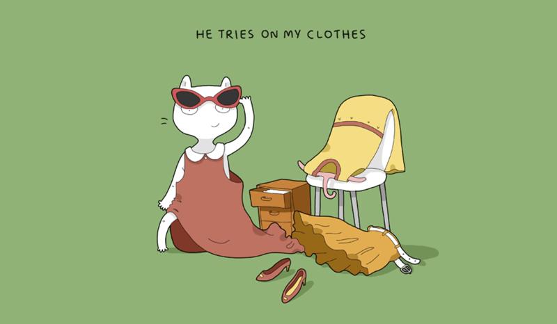 Cartoon - HE TRIES ON My CLOTHES al Ул