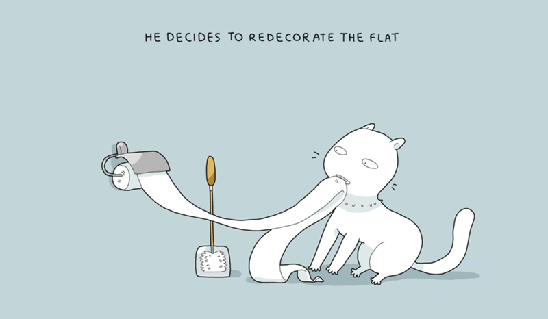 Cartoon - HE DECIDES TO REDECORATE THE FLAT ome wwwm