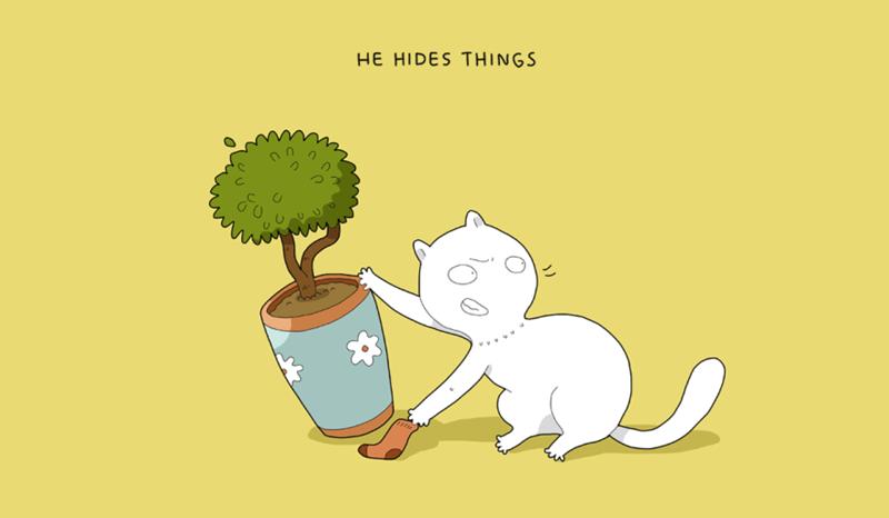 Cartoon - HE HIDES THINGS