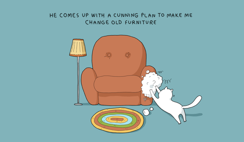 Cartoon - HE COMES UP WITH A CUNNING PLAN To MAKE ME CHANGE OLD FURNITURE