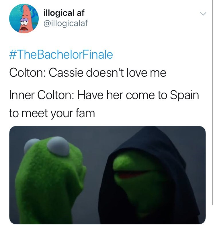 Green - illogical af @illogicalaf #TheBachelorFinale Colton: Cassie doesn't love me Inner Colton: Have her come to Spain to meet your fam