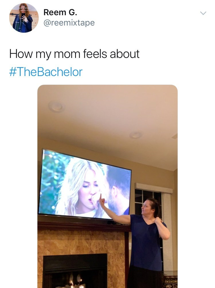 Product - Reem G. @reemixtape How my mom feels about #TheBachelor
