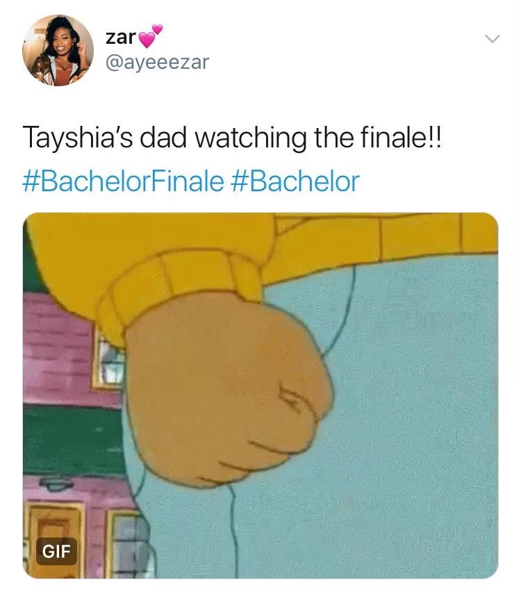 Cartoon - zar @ayeeezar Tayshia's dad watching the finale! #BachelorFinale #Bachelor GIF