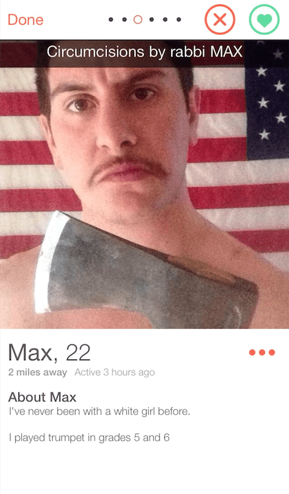 guy holding axe in front of american flag Active 3 hours ago About Max I've never been with a white girl before. I played trumpet in grades 5 and 6