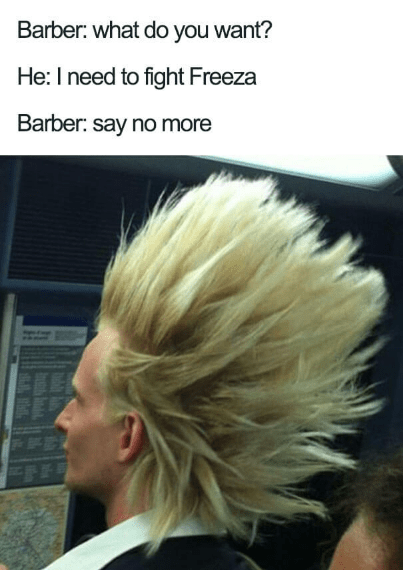 Hair - Barber: what do you want? He: I need to fight Freeza Barber: say no more