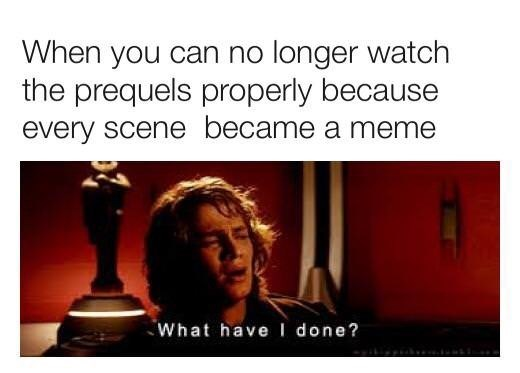Text - When you can no longer watch the prequels properly because every scene became a meme What have I done?