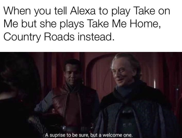 Text - Text - When you tell Alexa to play Take on Me but she plays Take Me Home, Country Roads instead. A suprise to be sure, but a welcome one.