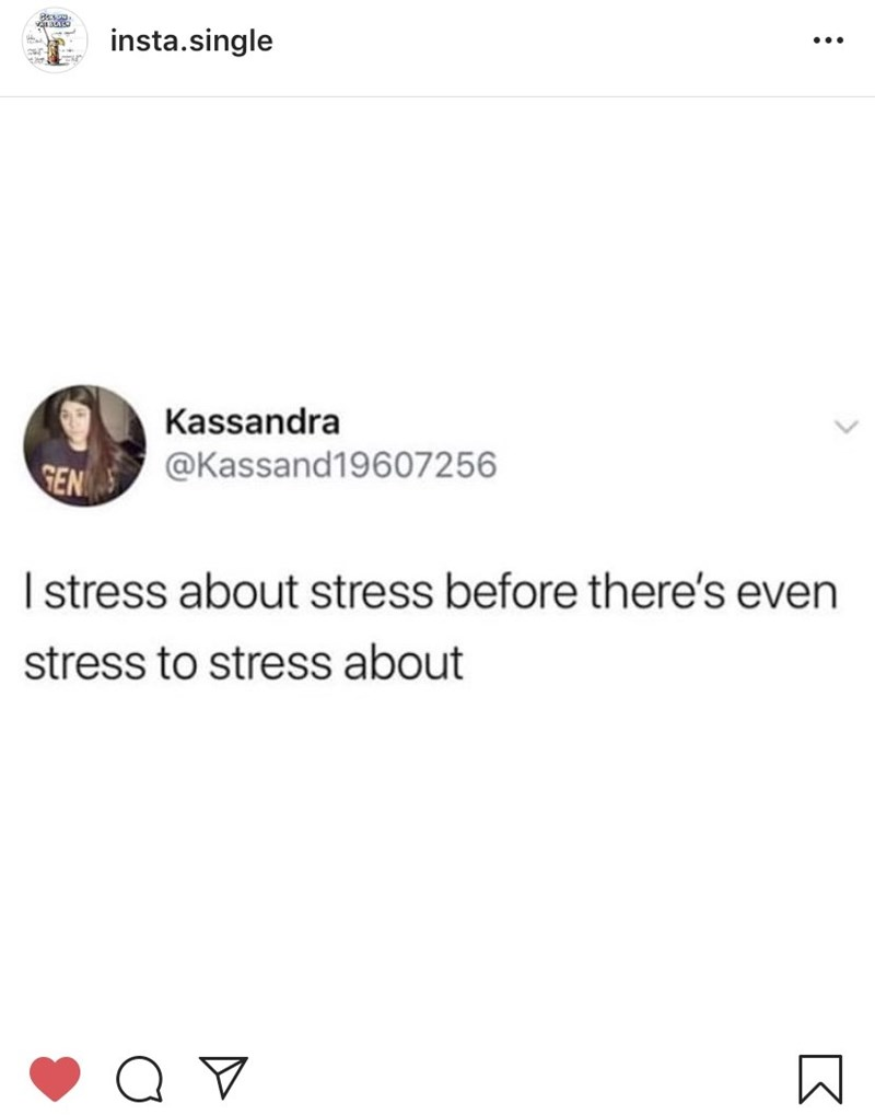 "Tweet that reads, ""I stress before there's even stress to stress about"""