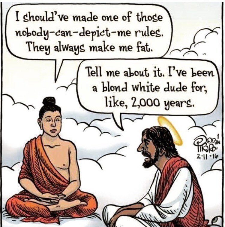 Cartoon - I should've made one of those nobody-can-depiet-me rules. They always make me fat. Tell me about it. I've been blond white dude for, like, 2,000 years. 2 11-10