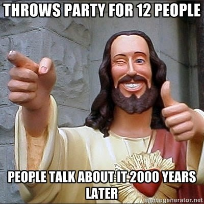 Internet meme - THROWS PARTY FOR 12 PEOPLE PEOPLE TALKABOUTIT2000 YEARS LATER emegenerator.net