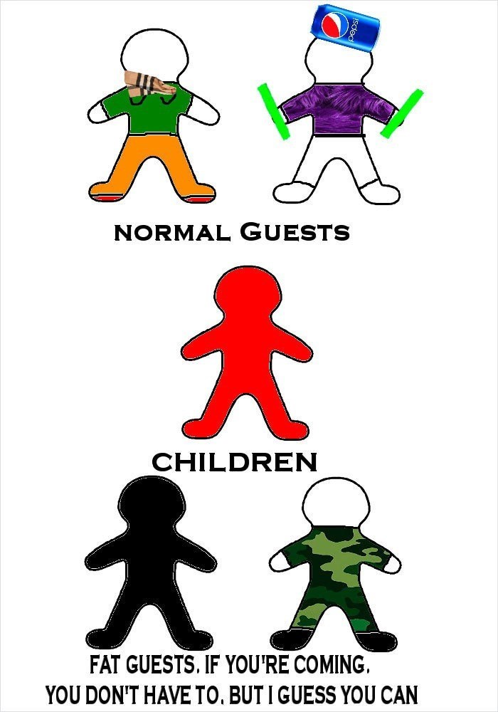 Clip art - NORMAL GUESTS CHILDREN FAT GUESTS. IF YOU'RE COMING. YOU DON'T HAVE TO. BUTI GUESS YOU CAN