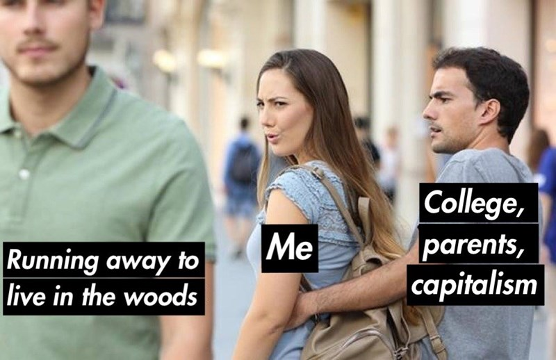Funny meme about running away from responsibilities, distracted girlfriend meme.