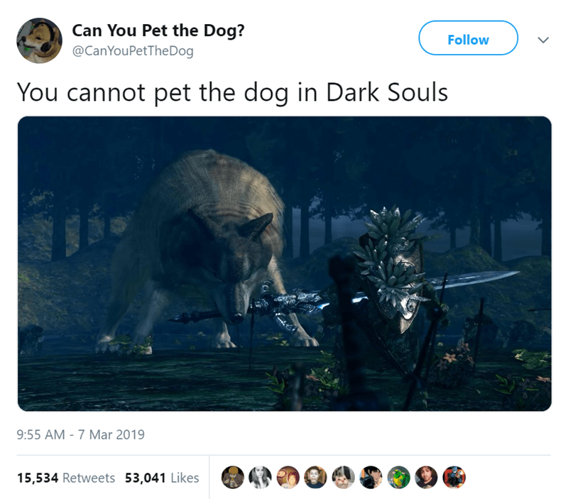 Text - Can You Pet the Dog? @CanYouPetTheDog Follow You cannot pet the dog in Dark Souls 9:55 AM -7 Mar 2019 15,534 Retweets 53,041 Likes
