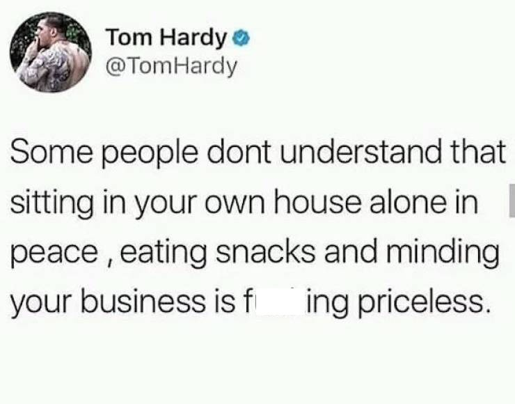 Text - Tom Hardy @TomHardy Some people dont understand that sitting in your own house alone in peace,eating snacks and minding your business is f ing priceless.