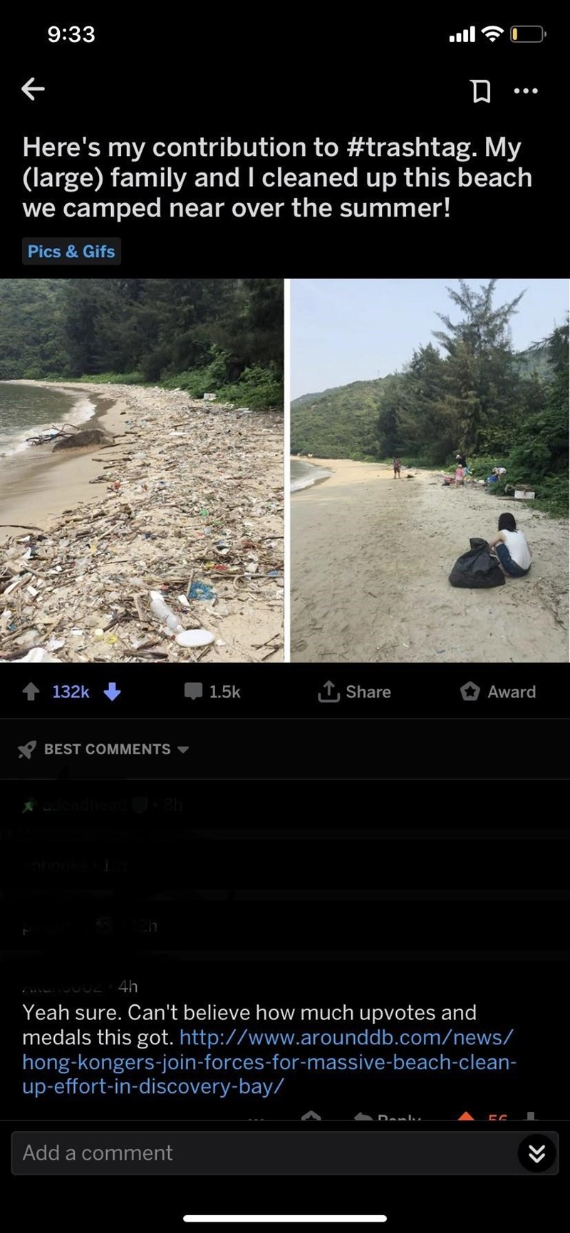 picture bech with rubbish and clean beach Here's my contribution to #trashtag. My (large) family and I cleaned up this beach we camped near over the summer! Pics&Gifs 132k 1.5k Share Award BEST COMMENTS 4h Yeah sure. Can't believe how much upvotes and medals this got. http://www.arounddb.com/news/ hong-kongers-join-forces-for-massive-beach-clean- up-effort-in-discovery-bay/ Add a comment (