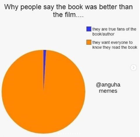 Text - Why people say the book was better than the film.. they are true fans of the book/author they want everyone to know they read the book @anguha memes