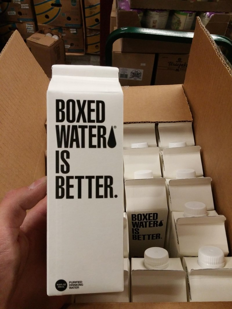 Carton - Terigak TRILBY ВОХЕD WATER IS BETTER. ВОХED WATERS IS BETTER. PURIFIED 10.9FL OZDRINKING WATER