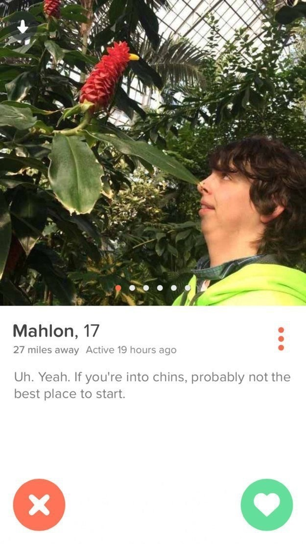 guy looking at a tree- Mahlon, 17 27 miles away Active 19 hours ago Uh. Yeah. If you're into chins, probably not the best place to start. X