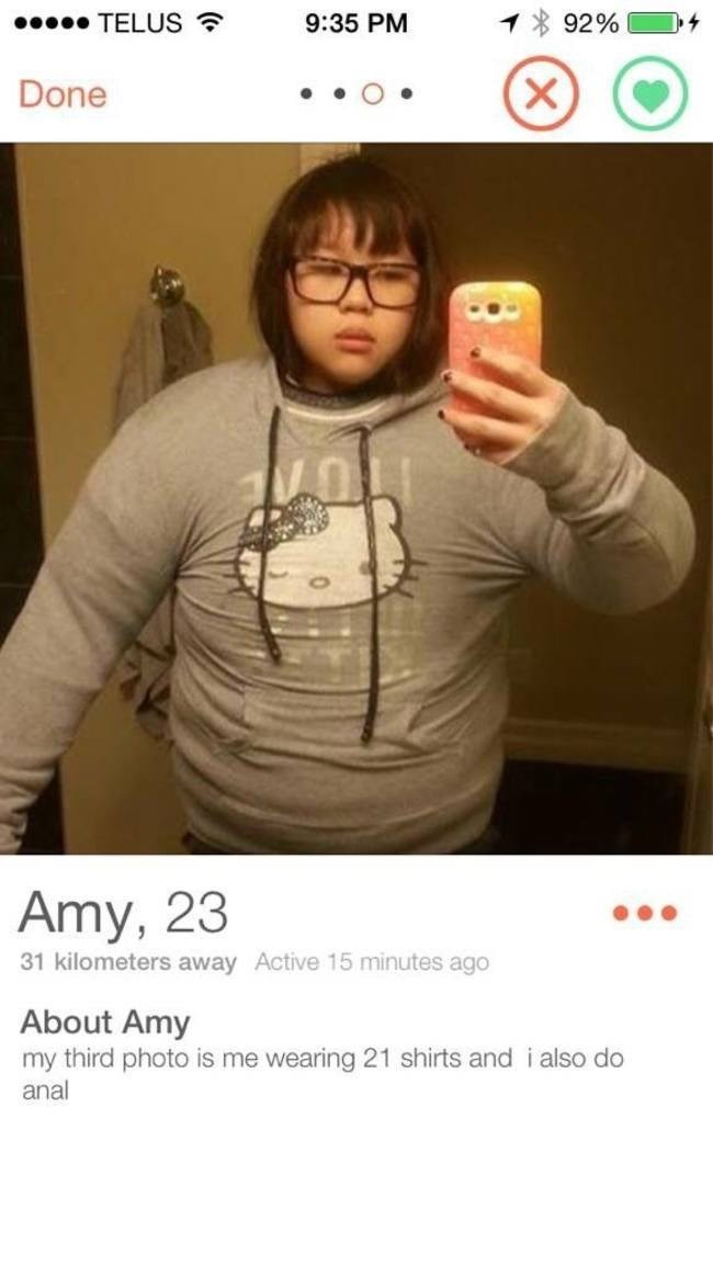 picture girl wearing big jumper Done Amy, 23 31 kilometers away Active 15 minutes ago About Amy my third photo is me wearing 21 shirts and i also do anal