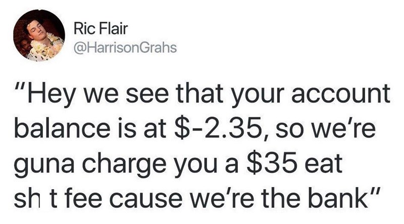 "Tweet that reads, ""'Hey, we see that your account balance is at -$2.35, so we're gonna charge you a $35 eat-sh*t fee cause we're the bank"""