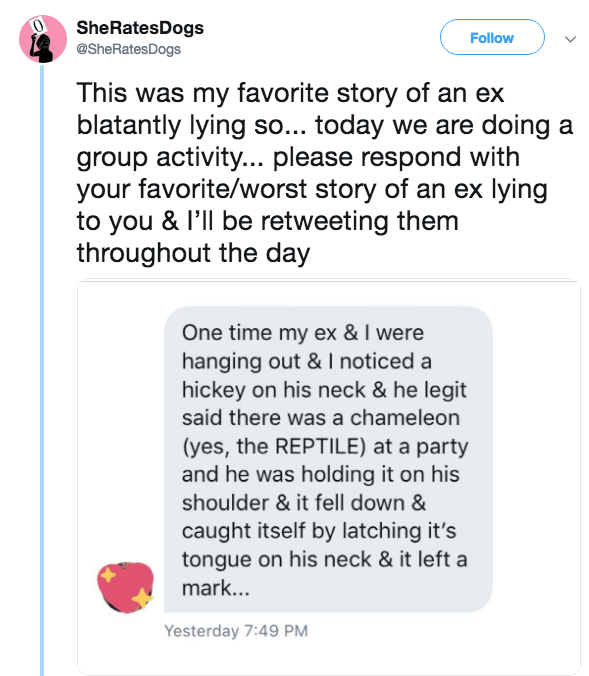 Text - SheRatesDogs @SheRatesDogs Follow This was my favorite story of an ex blatantly lying so... today we are doing a group activity... please respond with your favorite/worst story of an ex lying to you & I'll be retweeting them throughout the day One time my ex & I were hanging out & noticed a hickey on his neck & he legit said there was a chameleon (yes, the REPTILE) at a party and he was holding it on his shoulder & it fell down & caught itself by latching it's tongue on his neck & it left
