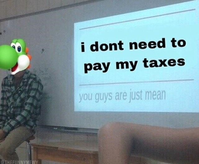 Text - i dont need to pay my taxes you guys are just mean THEFUNNYMEWY
