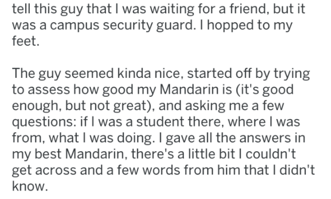 screenshot of text from reddit about american teacher in china getting cultural lesson