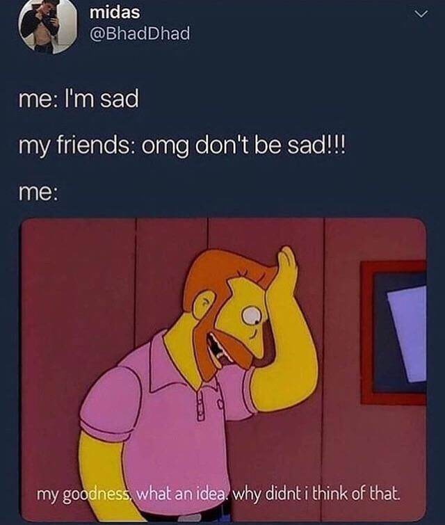 Cartoon - midas @BhadDhad me: I'm sad my friends: omg don't be sad!!! me: my goodness,what an idea why didnt i think of that