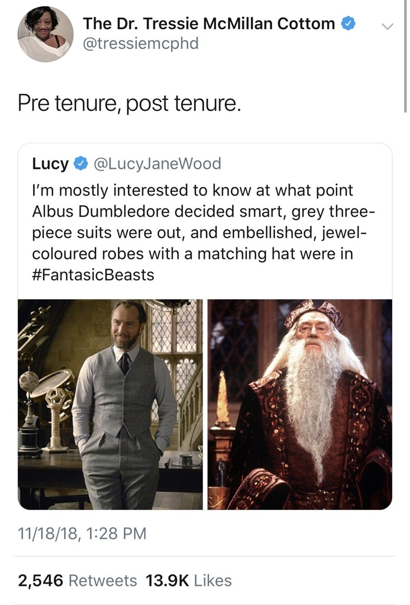 Text - The Dr. Tressie McMillan Cottom @tressiemcphd Pre tenure, post tenure. Lucy @LucyJaneWood I'm mostly interested to know at what point Albus Dumbledore decided smart, grey three- piece suits were out, and embellished, jewel- coloured robes with a matching hat were in #FantasicBeasts 11/18/18, 1:28 PM 2,546 Retweets 13.9K Likes