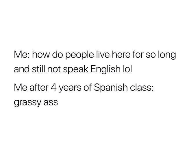 Text - Me: how do people live here for so long and still not speak English lol Me after 4 years of Spanish class: grassy ass