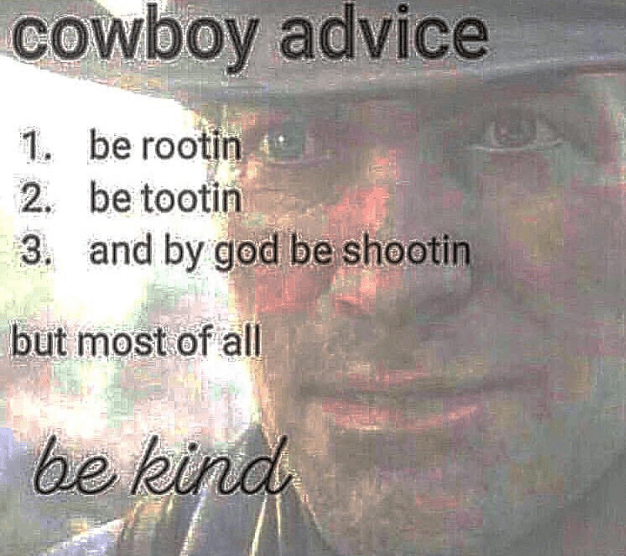 Funny m,eme about cowboy advice.