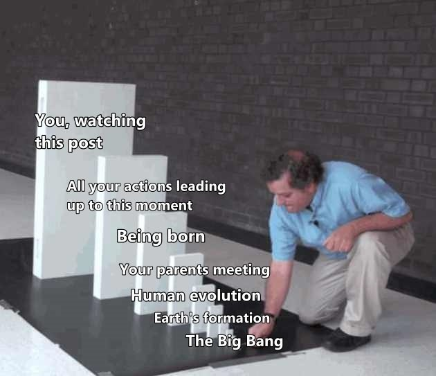 Text - You, watching this post All your actions leading up to this moment Being born Your parents meeting Human evolution Earth's formation The Big Bang