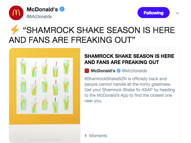 """Product - MMcDonald's @McDonalds Following """"SHAMROCK SHAKE SEASON IS HERE AND FANS ARE FREAKING OUT"""" SHAMROCK SHAKE SEASON IS HERE AND FANS ARE FREAKING OUT 
