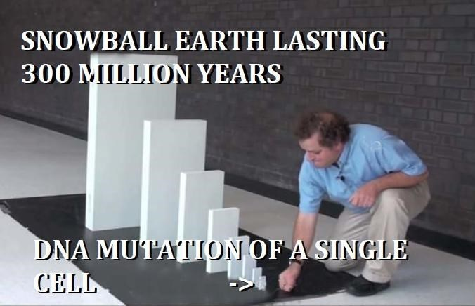 Text - SNOWBALL EARTH LASTING 300 MIILLION YEARS DNA MUTATION OF A SINGLE CELL