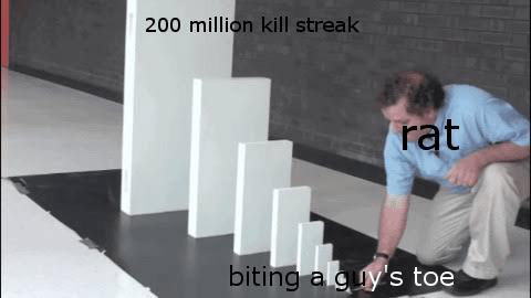 Floor - 200 million kill streak rąt biting a guy's toe