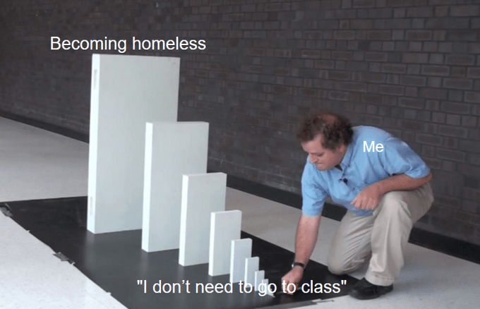 "Small domino starts at ""I don't need to go to class,"" ending with ""Becoming homeless"""