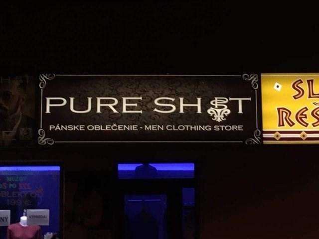design fail - Text - SL PURE SHTRES H& PANSKE OBLEČENIE MEN CLOTHING STORE MZOV S PO BLEKY ON 199 VHEDA NY