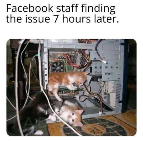 Electronics - Facebook staff finding the issue 7 hours later. ALE