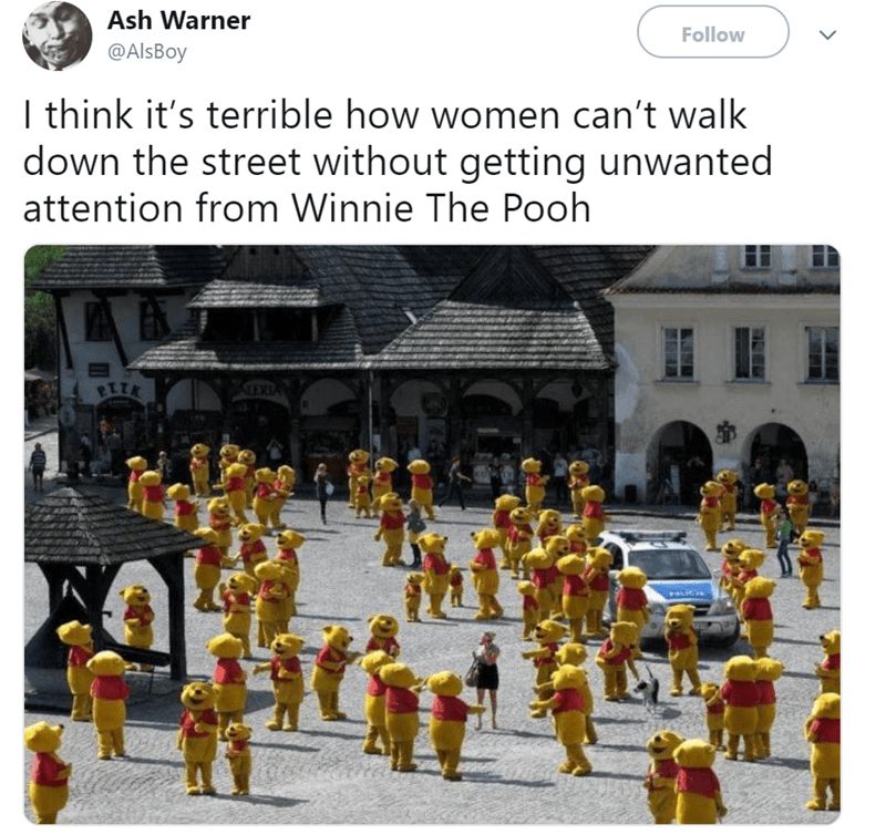 Text - Ash Warner Follow @AlsBoy I think it's terrible how women can't walk down the street without getting unwanted attention from Winnie The Pooh ALERIA RIIK