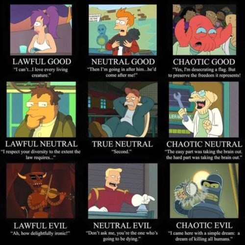 """Cartoon - LAWFUL GOOD """"I can't.I love every living creature. NEUTRAL GOOD CHAOTIC GOOD """"Then I'm going in after him. .he'd come after me!"""" """"Yes, Pm desecrating a flag. But to preserve the freedom it represents! LIERA TRUE NEUTRAL Second. CHAOTIC NEUTRAL LAWFUL NEUTRAL """"I respect your diversity to the extent the law requires... """"The easy part was taking the brain out. the hard part was taking the brain out."""" NEUTRAL EVIL CHAOTIC EVIL LAWFUL EVIL """"Ah, how delightfully ironic! """"Don't ask me, you're"""