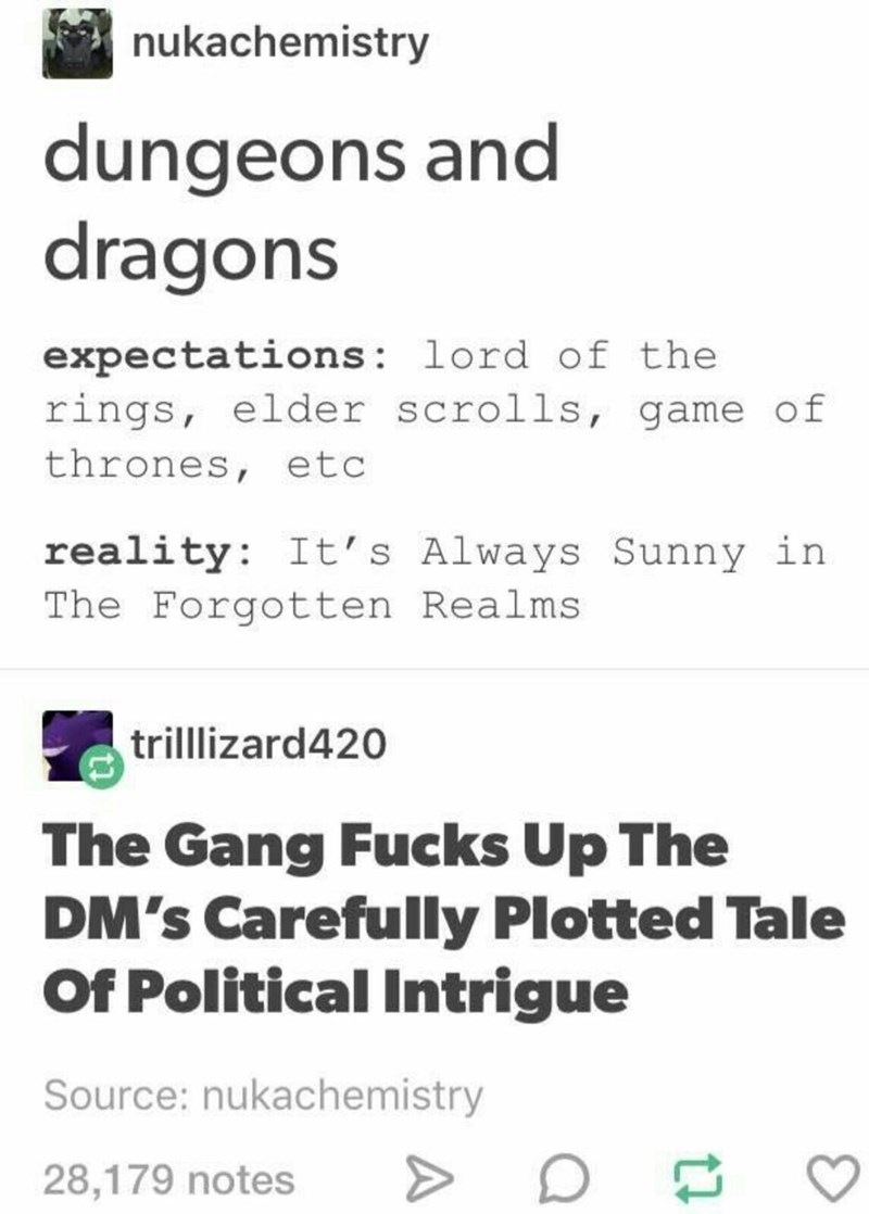 Text - nukachemistry dungeons and dragons expectations: lord of the rings, elder scrolls, game of thrones, etc reality: It's Always Sunny in The Forgotten Realms trilllizard420 The Gang Fucks Up The DM's Carefully Plotted Tale Of Political Intrigue Source: nukachemistry 28,179 notes