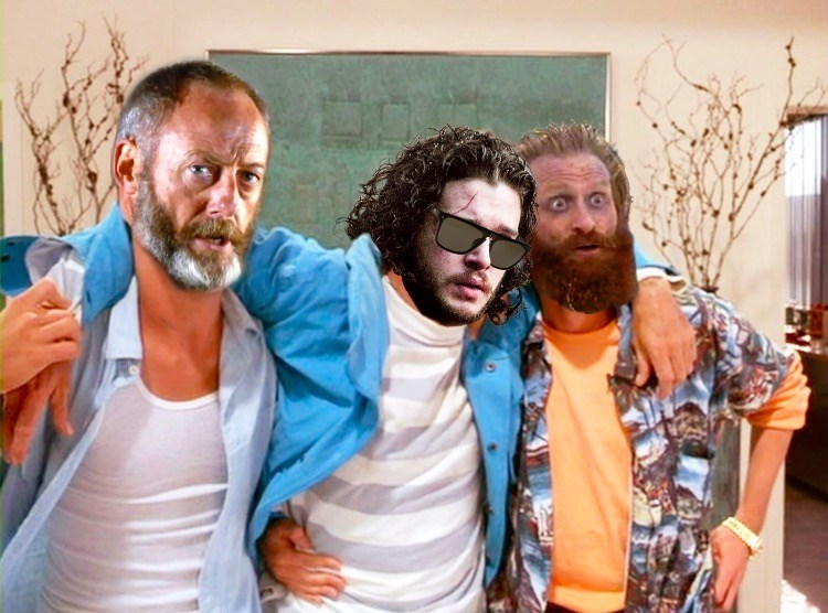Game of Thrones shitpost with Jon Snow, Davos and Tormund in Weekend at Bernie's