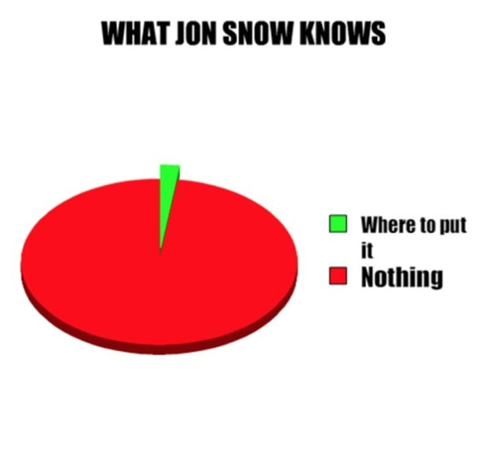 Game of Thrones shitpost with pie chart of what Jon Snow knows